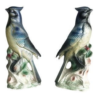 Mid-Century Chinoiserie Ceramic Birds - A Pair