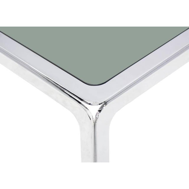 Mid-Century Modern Chrome and Smoke Glass Top Rectangular Coffee Table For Sale - Image 3 of 6