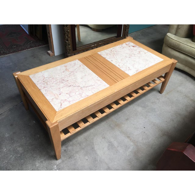 Studio Solid Oak & Pink Marble Insert Coffee Table For Sale - Image 9 of 9