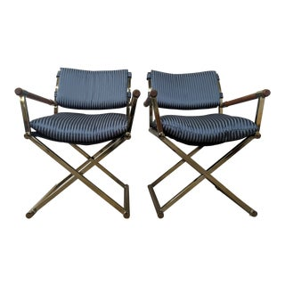Vintage Pair of 1970's Brass and Wood Directors Chairs in the Style of Cleo Baldon For Sale