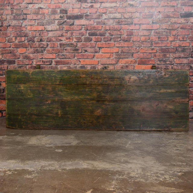Wood 19th Century Rustic Green Painted Harvest/Farm Trestle Table For Sale - Image 7 of 9