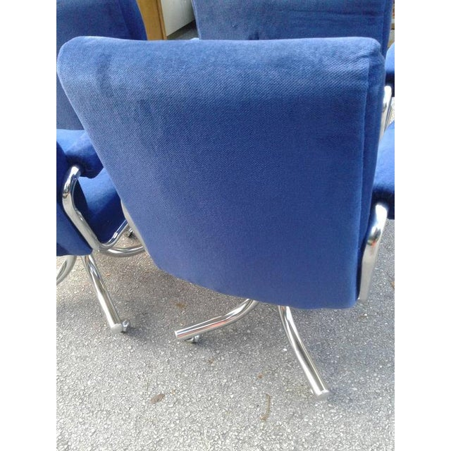 Hollywood Regency Vintage Hollywood Regency Chrome Swivel Arm Chairs - 3 Available For Sale - Image 3 of 12