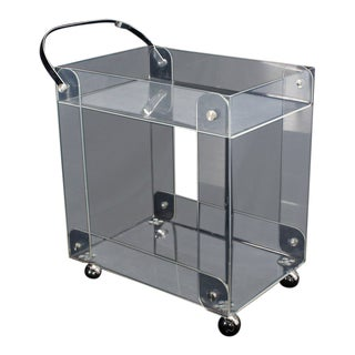Geometrical Lucite Serving Tea Bar Cart on Wheels