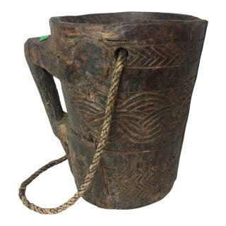 Vintage Indian Carved Wooden Raita Pot For Sale