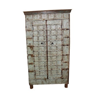 Antique Distressed Blue Indian Vintage Rustic Armoire For Sale