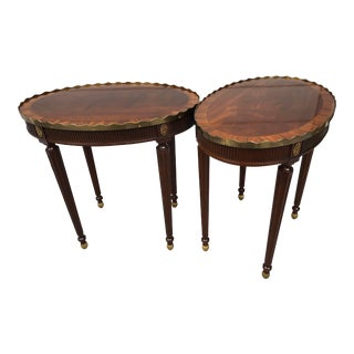 Baker Stately Homes Oval Mahogany Occasional Tables #5058 - a Pair For Sale