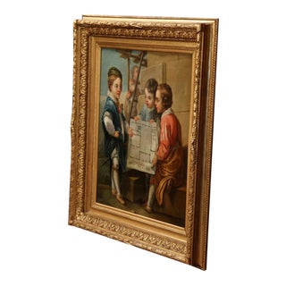 18th Century French Oil on Canvas Painting in Gilt Frame After Charles Van Loo For Sale