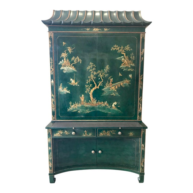 Chinoiserie Green Lacquer Secretary Desk China Display Cabinet For Sale