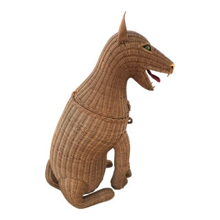 1950s Vintage Woven Wicker Dog Basket Glass Marble Eyes For Sale