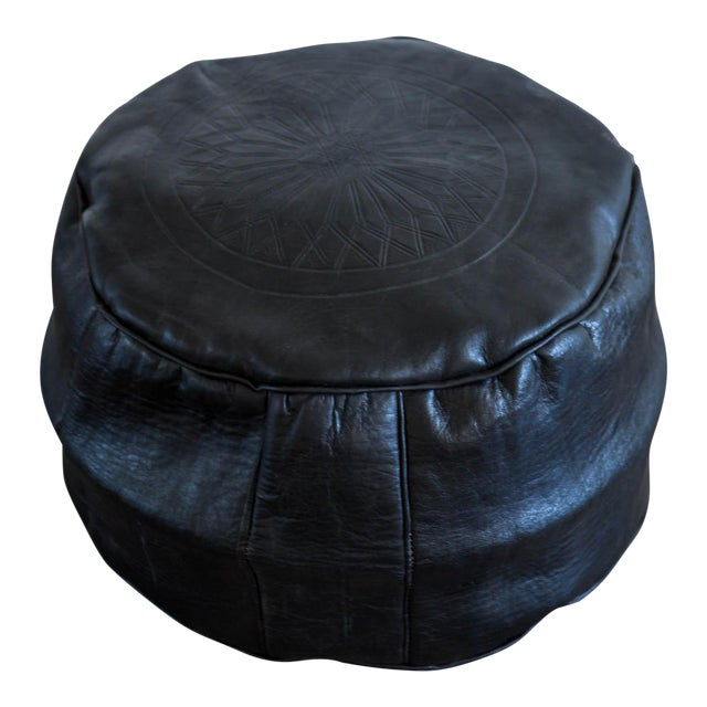 Moroccan Leather Pouf in Black - Image 1 of 4