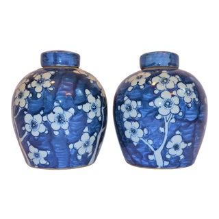 Chinoiserie Ginger Jars With Cherry Blossoms - a Pair For Sale