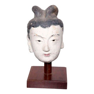 Ming Dynasty Polychrome Stucco Head of a Court Lady with Original Paint For Sale