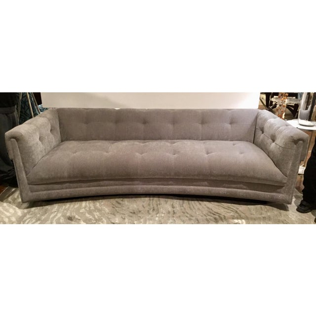Modern Caracole Take It From the Top Gray Velvet Tufted Sofa