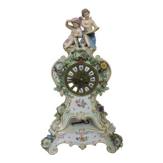 Antique Meissen Porcelain Clock For Sale