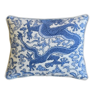 "Italian Chinoiserie Scalamandre Dragon Feather/Down Pillow 18"" X 15"" For Sale"