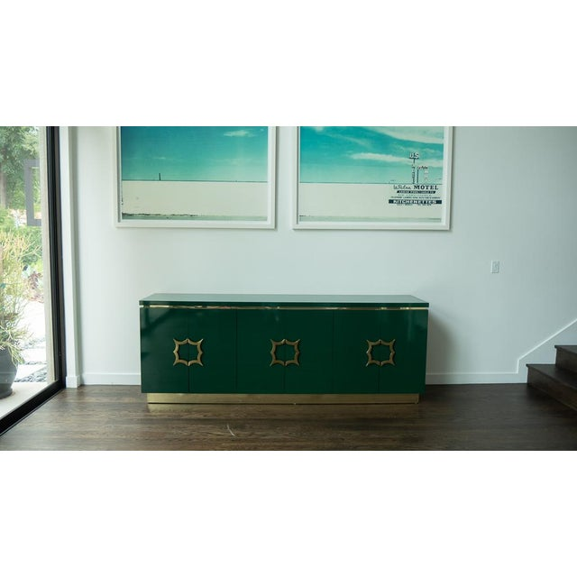 1960's Hollywood Regency Emerald Green Laminate Credenza For Sale - Image 13 of 13