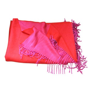 Red and Fushia Alpaca Blend Throw With Tassel Fringe
