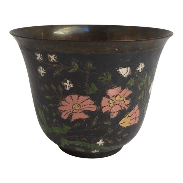 Asian Cloissone Enamel Vessel With Floral Design For Sale