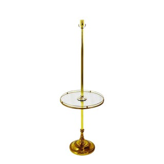Mid Century Brass and Glass Table Top Floor Lamp For Sale