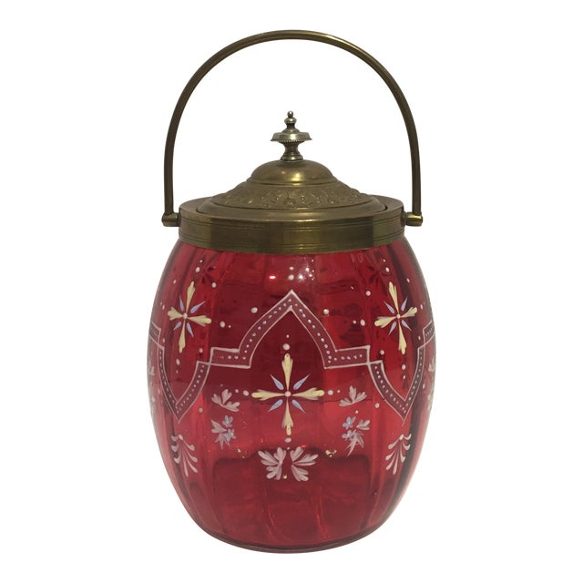 19th Century Biscuit Barrel Hand Enameled Cranberry Glass W/ Brass Lid & Handle For Sale