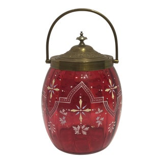 Hand Enameled Cranberry Glass Biscuit Barrel For Sale