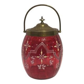 Hand Enameled Cranberry Glass Biscuit Barrel