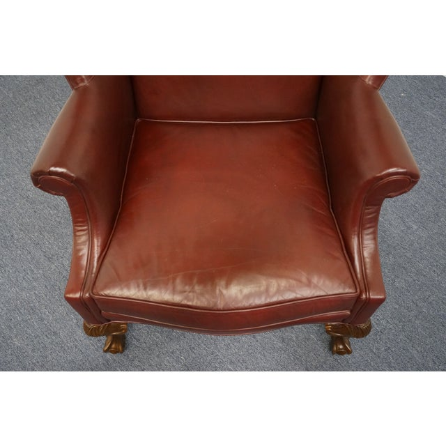 Whittemore-Sherrill Burgundy Leather Wingback Chair For Sale - Image 4 of 10
