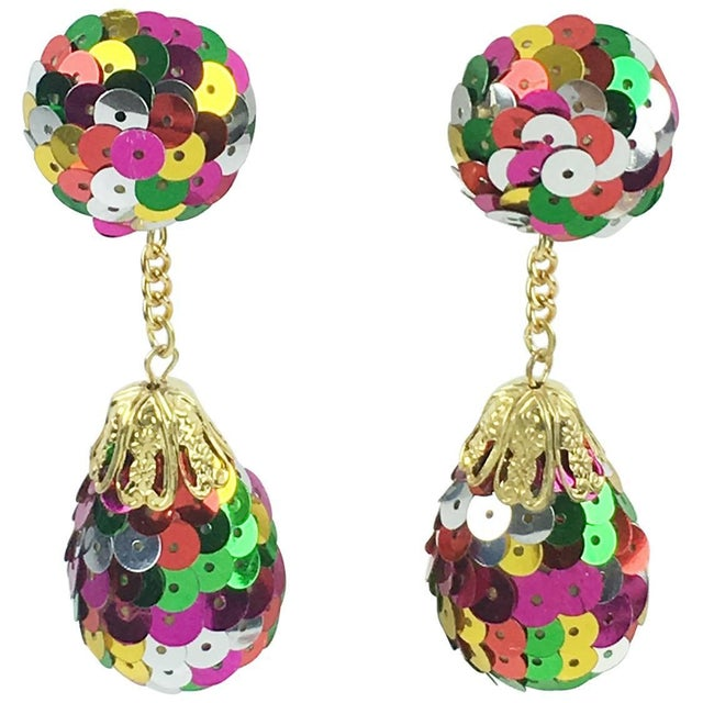 Colorful Sequin Disco Balls Dangling Chandelier Clip on Earrings For Sale In Atlanta - Image 6 of 6