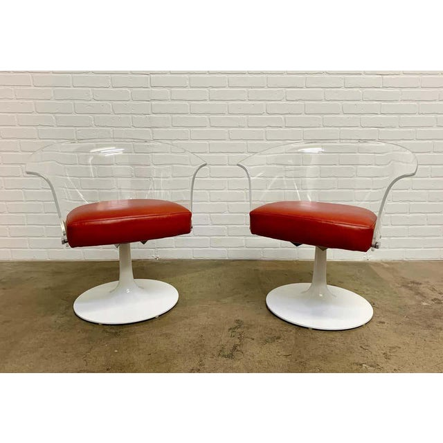 Lucite and Leather Space Age Chairs For Sale - Image 12 of 12