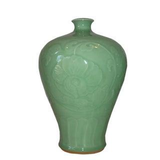 Asian Modern Hongmei Celadon Porcelain Vase For Sale