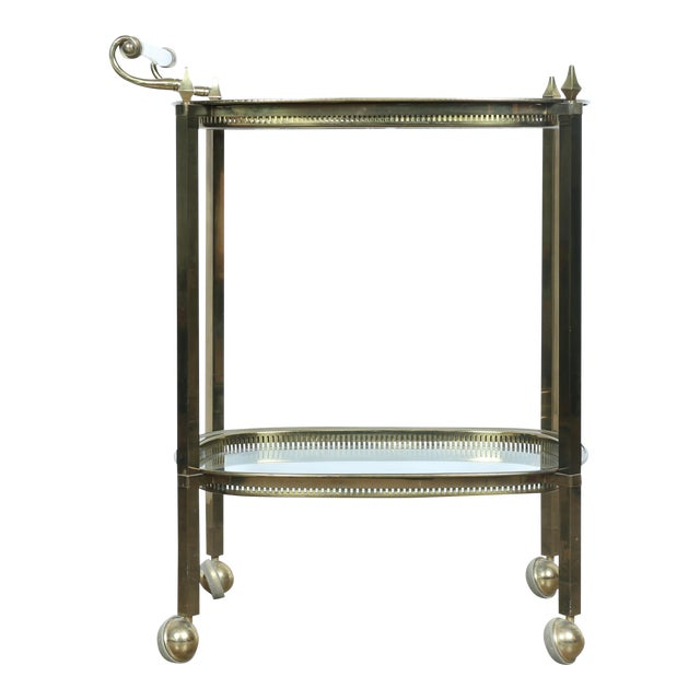Mid-Century Gold-Tone Bar Cart - Image 1 of 11