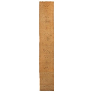 Antique Oushak Beige and Blue Wool Runner Rug - 2′5″ × 16′ For Sale