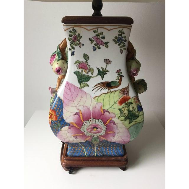 Asian Vintage Porcelain Tobacco Leaf Lamp For Sale - Image 3 of 11