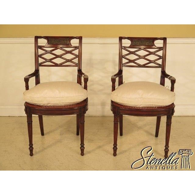 Item: THEODORE ALEXANDER Pair Of Regency Style Cane Seat Mahogany Chairs Age: Approx. 5 Years Old Details: Regency Style...