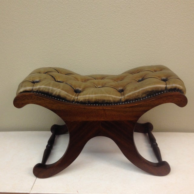 Antiqued Tufted Leather Ottoman - Image 2 of 9