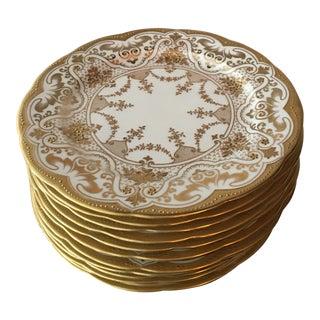 Mid 19th Century Cauldon Bone China Raised Gold Dinner Plates - Set of 12 For Sale