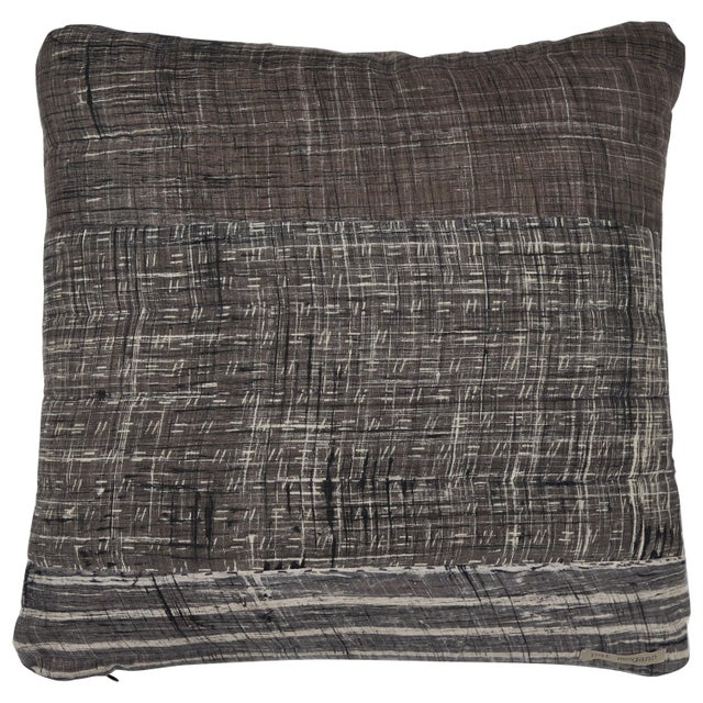 Indian Patchwork Grey Pillow For Sale In Los Angeles - Image 6 of 6