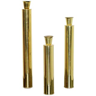 Oggetti Italian, 1970s Mid-Century Modern Brass Candle Holders Sticks - Set of 3 For Sale