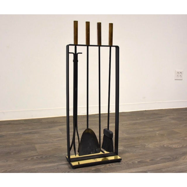 Modernist Wrought Iron and Brass Fireplace Toolkit For Sale In Boston - Image 6 of 6