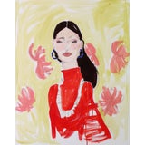 Image of Red Lady Original Acrylic Painting For Sale