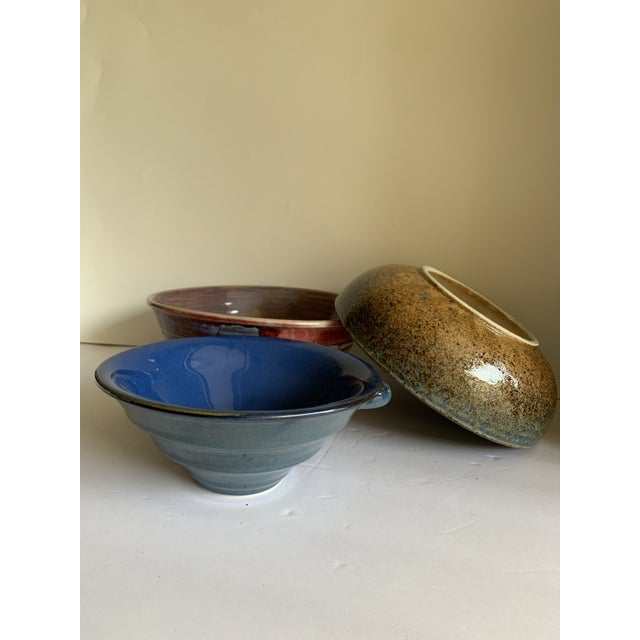 Rustic Farmhouse Style Pottery Bowls, Set of Three For Sale - Image 10 of 13