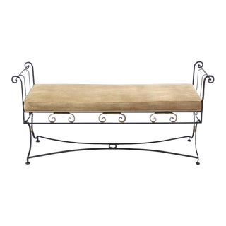 Vintage Mid Century Wrought Iron Fine Ornate Design Hollywood Regency Window Bench For Sale