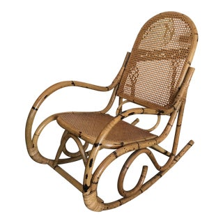 Vintage Thonet Style Bentwood Bamboo Rocking Chair For Sale