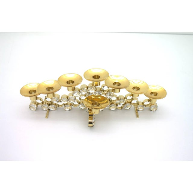 Palwa Set of Three Crystal and Gilded Candleholder by Palwa Germany, 1960s For Sale - Image 4 of 4