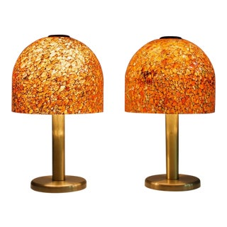 Pair of Glass and Brass Table Lamps by Peil & Putzler Germany 1970s For Sale
