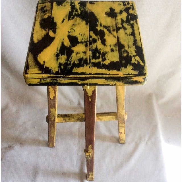 Yellow Distressed Cedro Macho Wood Bar Stool - Image 8 of 8