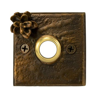 Square Hemlock Cone Doorbell, Traditional Patina For Sale