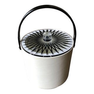 Mid-Century Modern Black and White Lucite Ice Bucket