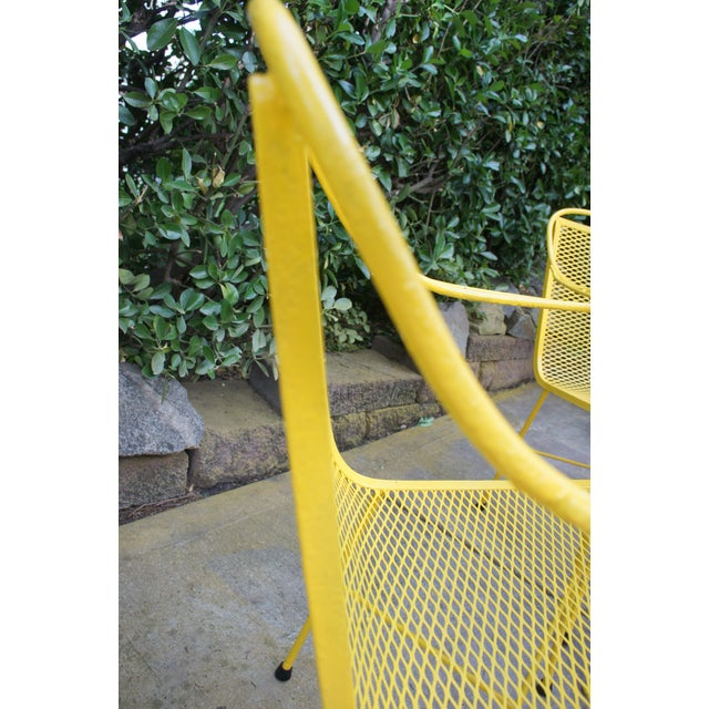 Mid Century Modern Buttercup Yellow Wrought Iron Patio Dining Set- 6 Pieces For Sale - Image 9 of 13