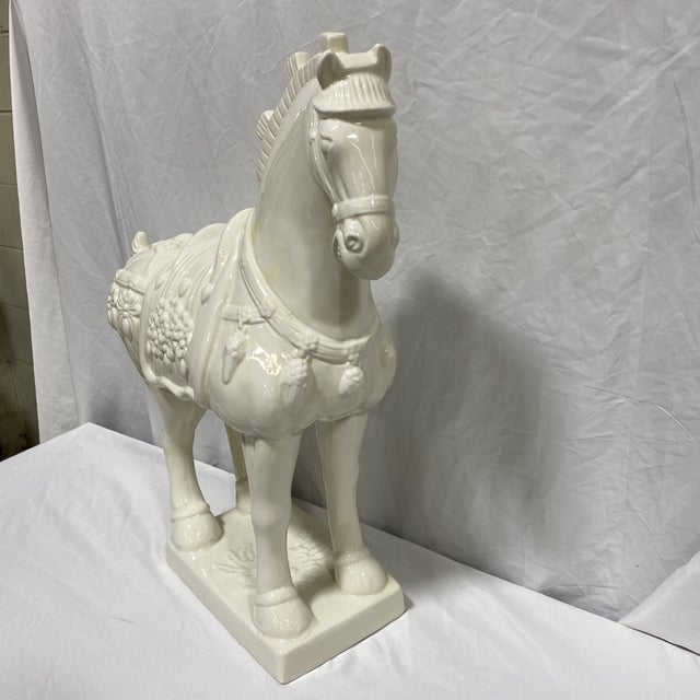This is a great large vintage ceramic Tang Dynasty style horse in modern gloss white ceramic. No Chips or cracks. A couple...